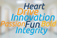 Heart, Drive, Innovation, Passion, Fun, Bold, Integrity